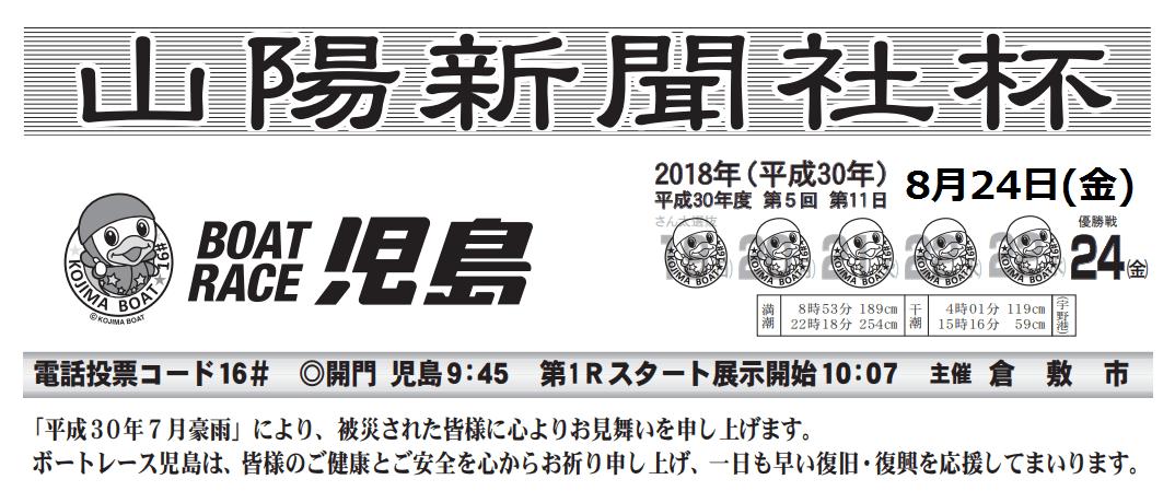 【競艇予想・児島】山陽新聞杯(2018.8.24)最終日の買い目はコレ!