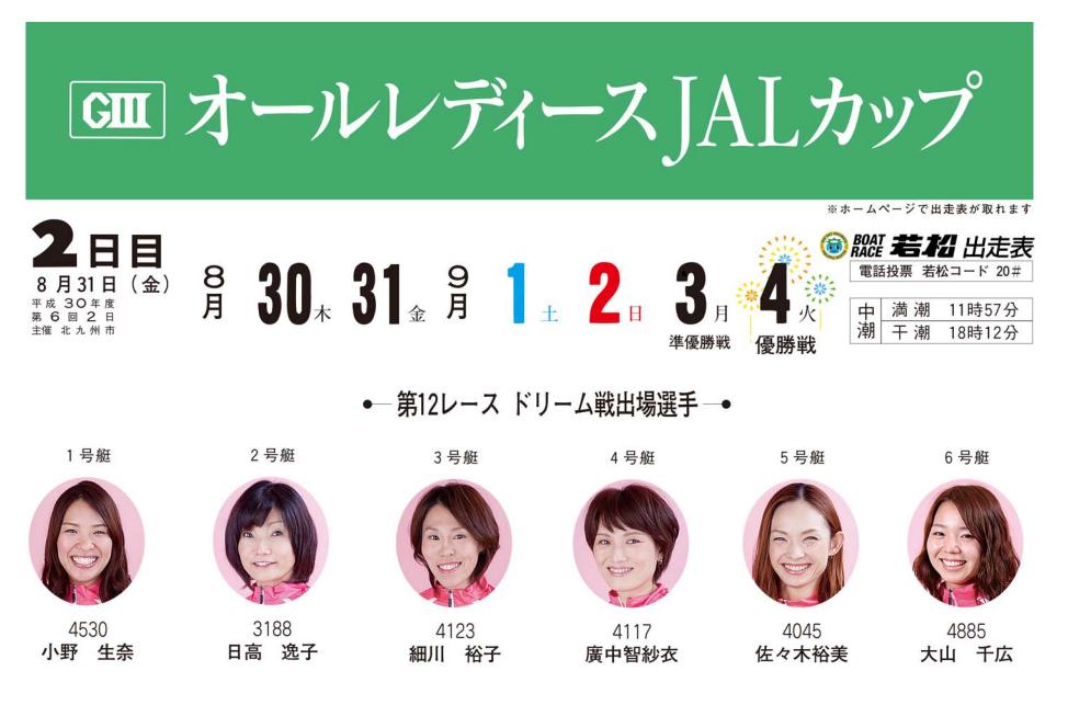 【競艇予想・若松】G3オールレディースJALカップ(2018.8.31)2日目の買い目はコレ!