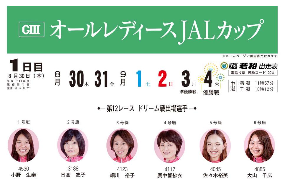 【競艇予想・若松】G3オールレディースJALカップ(2018.8.30)初日の買い目はコレ!