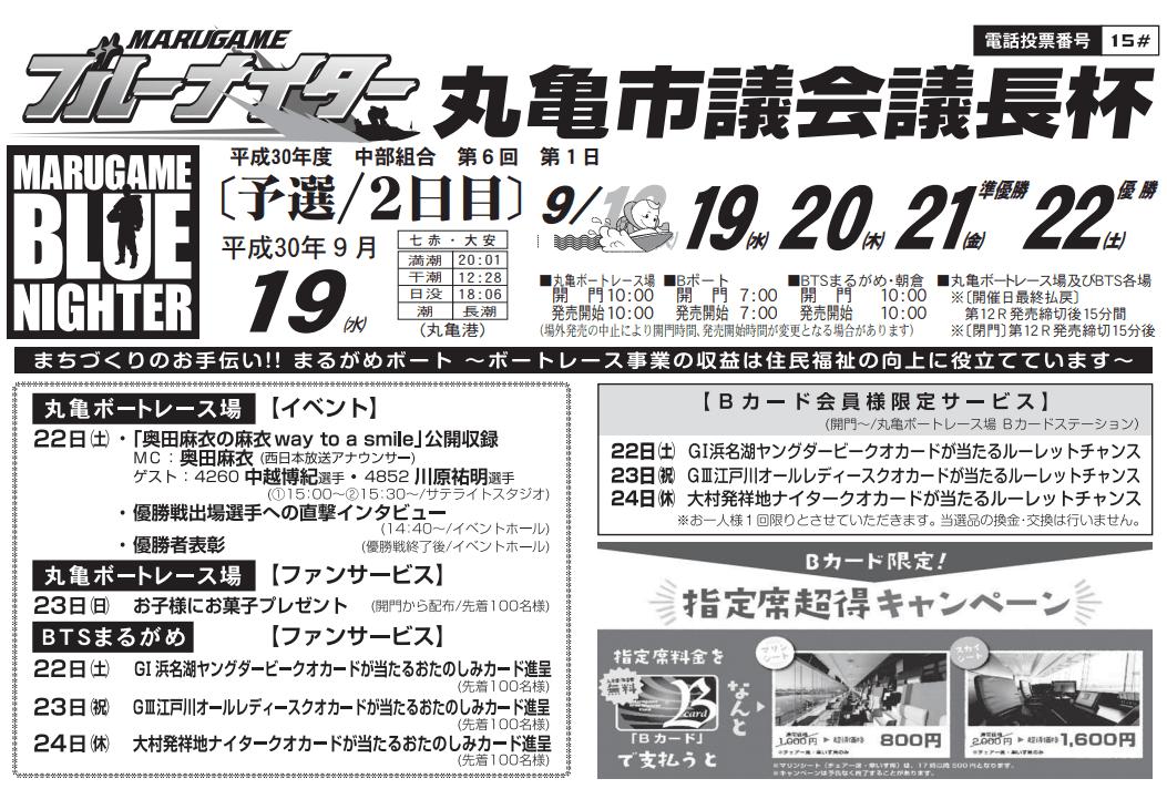 【競艇予想・丸亀】丸亀市議会議長杯(2018.9.19)2日目の買い目はコレ!