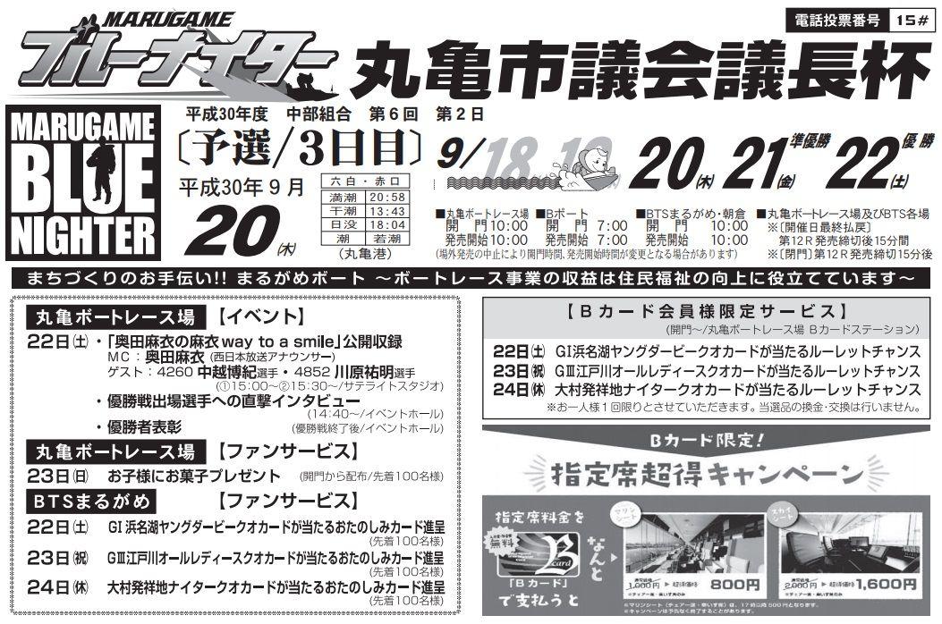 【競艇予想・丸亀】丸亀市議会議長杯(2018.9.20)3日目の買い目はコレ!