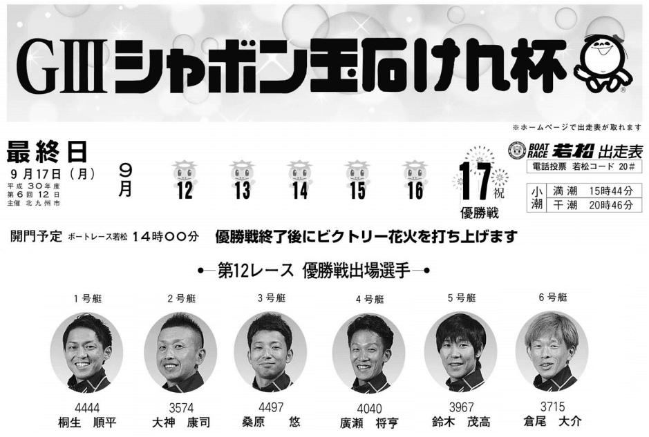 【競艇予想・若松】G3シャボン玉石けん杯(2018.9.17)最終日の買い目はコレ!
