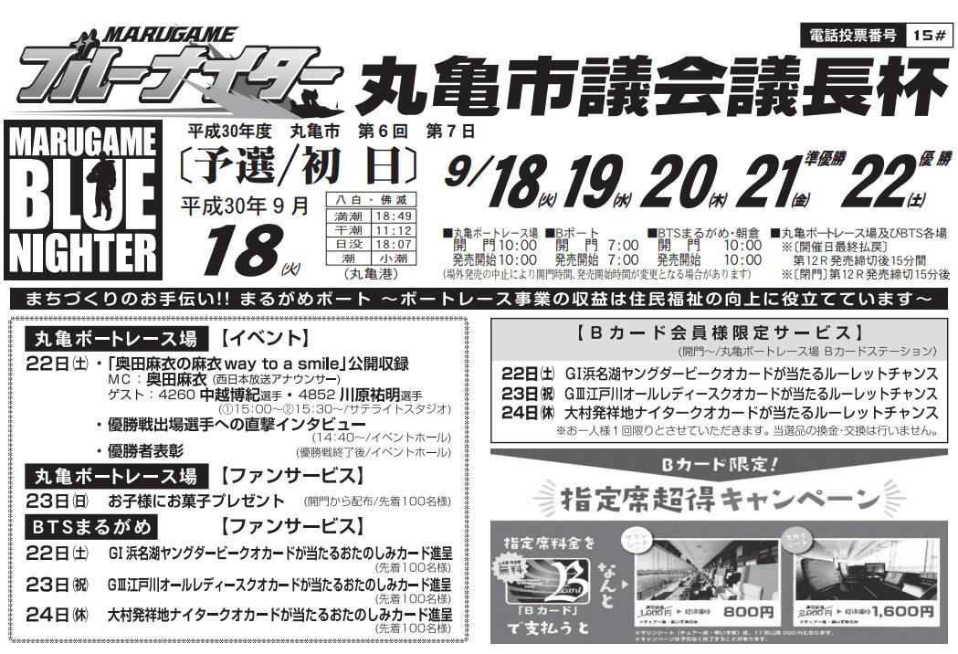 【競艇予想・丸亀】丸亀市議会議長杯(2018.9.18)初日の買い目はコレ!