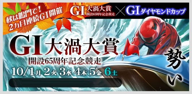 【競艇予想・鳴門(10/6)】G1大渦大賞-開設65周年記念競走(2018)最終日の買い目はコレ!