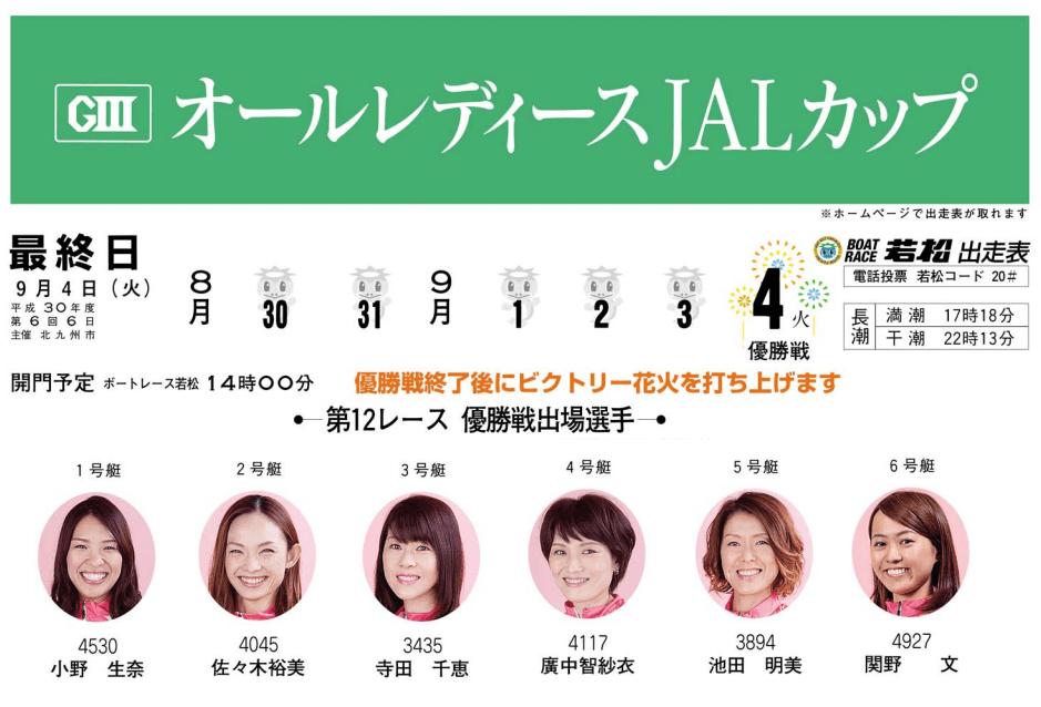 【競艇予想・若松】G3オールレディースJALカップ(2018.9.4)最終日の買い目はコレ!