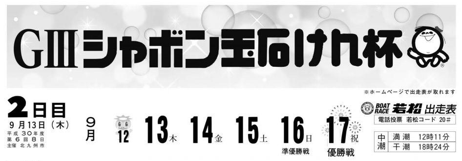 【競艇予想・若松】G3シャボン玉石けん杯(2018.9.13)2日目の買い目はコレ!