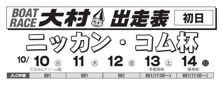 【競艇予想・大村(10/10)】ニッカン・コム杯(2018)初日の買い目はコレ!