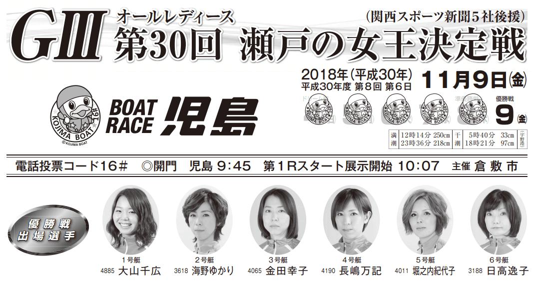 【競艇予想・児島(11.9)】G3瀬戸の女王決定戦(2018)最終日の買い目はコレ!