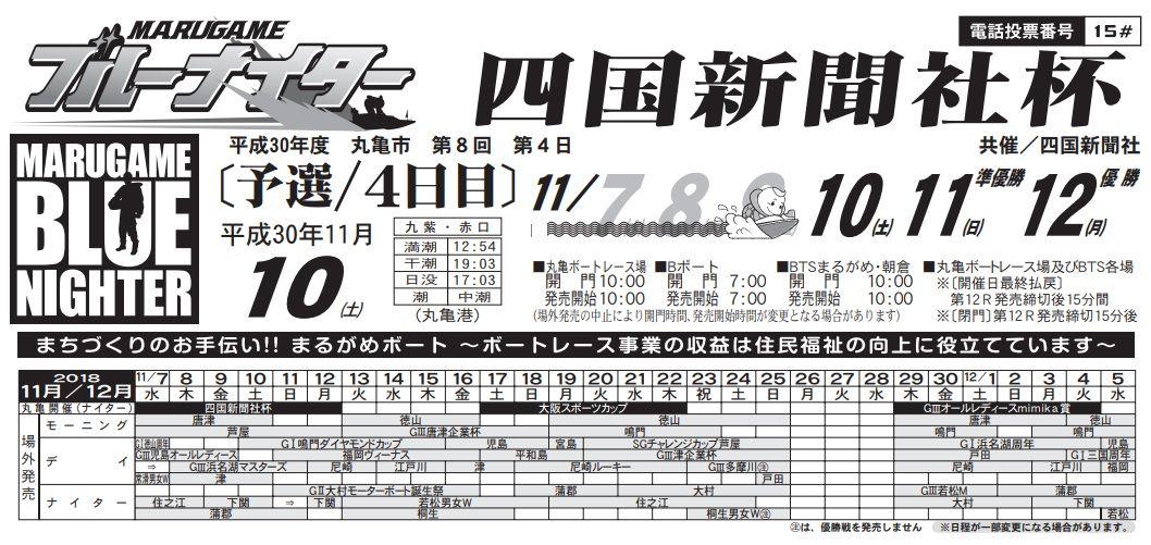 【競艇予想・丸亀(11.10)】四国新聞社杯(2018)4日目の買い目はコレ!