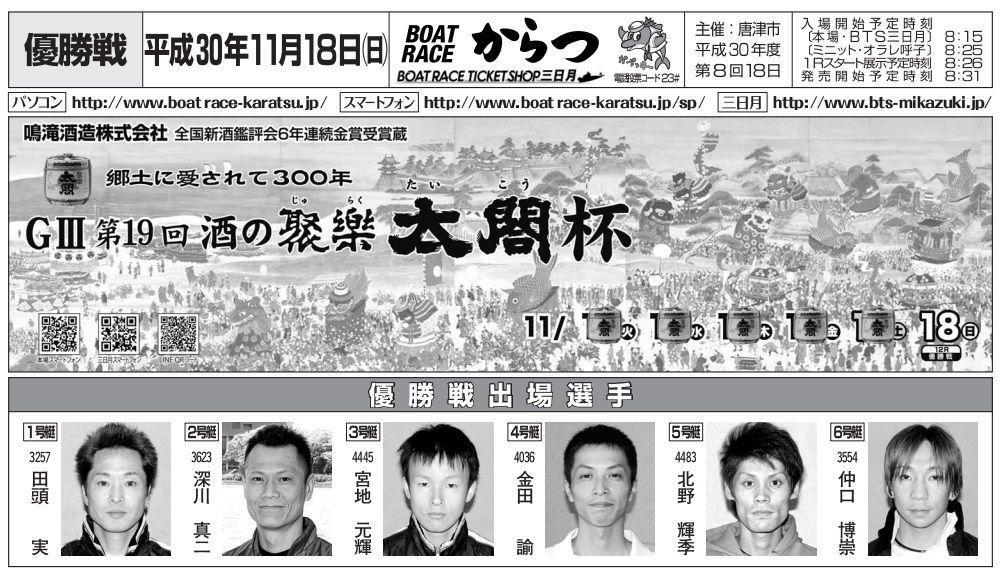 【唐津競艇予想】G3酒の聚楽太閤杯(11/18) 最終日の注目レースと買い目