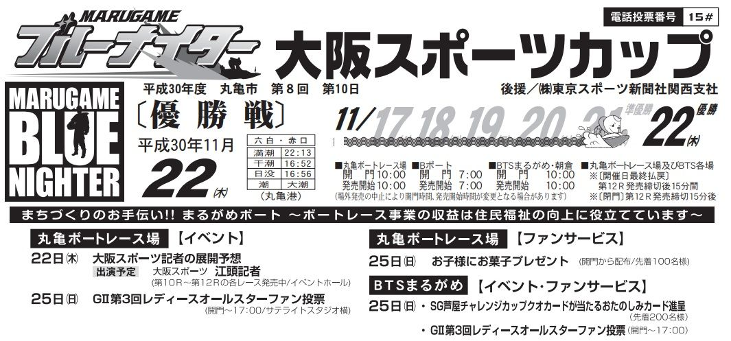 【丸亀競艇予想(11/22)】大阪スポーツカップ(2018)最終日の買い目はコレ!