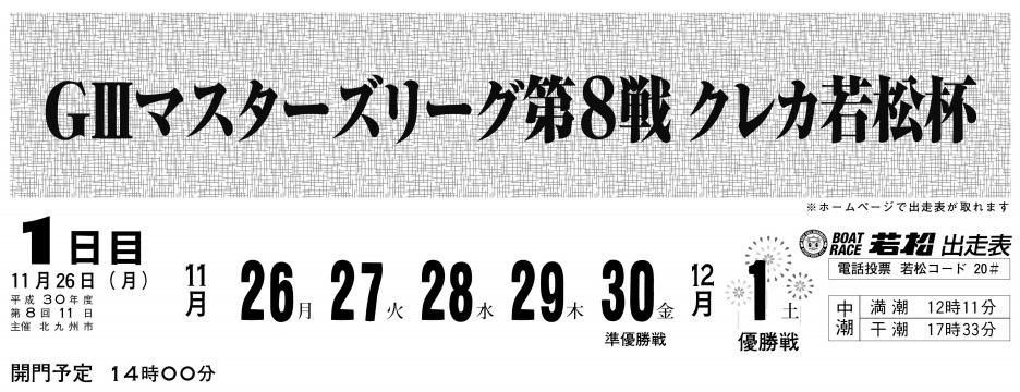 【若松競艇予想(11/28)】G3マスターズリーグ第8戦クレカ若松杯(2018)3日目の買い目はコレ!