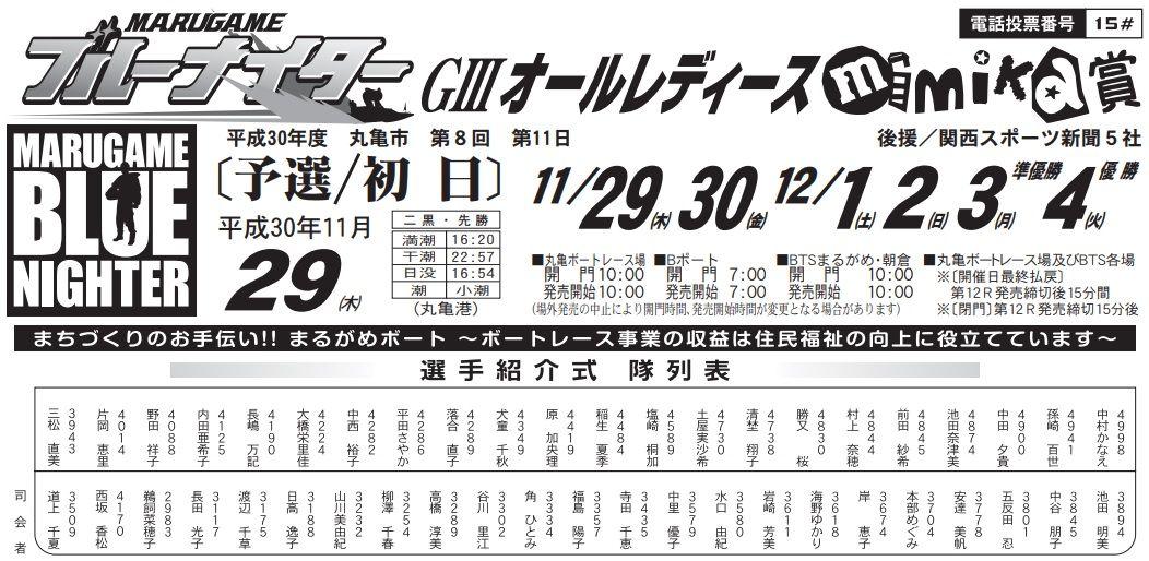 【丸亀競艇予想(11/29)】G3オールレディース「mimika賞」(2018)初日の買い目はコレ!