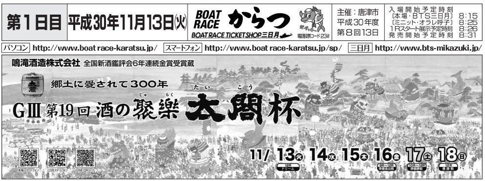 【唐津競艇予想】G3酒の聚楽太閤杯(11/13) 初日の注目レースと買い目