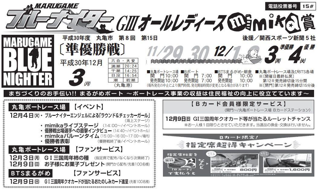 【丸亀競艇予想(12/3)】G3オールレディース「mimika賞」(2018)5日目の買い目はコレ!