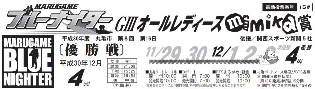 【丸亀競艇予想(12/4)】G3オールレディース「mimika賞」(2018)最終日の買い目はコレ!