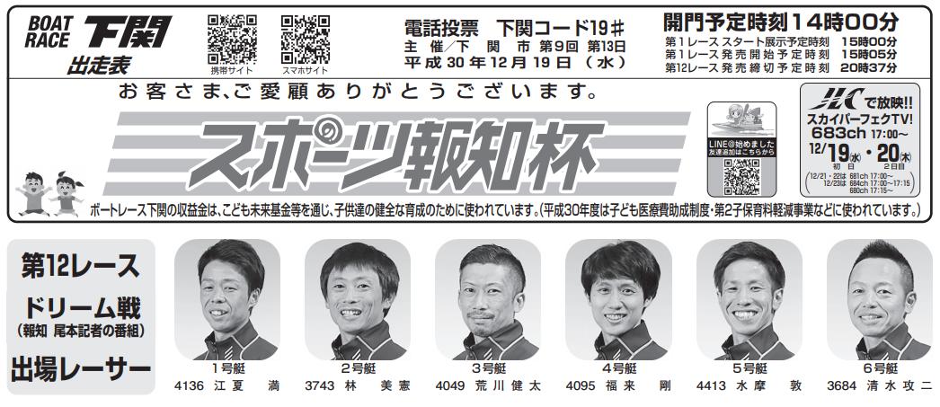 【下関競艇予想(12/19)】スポーツ報知杯(2018)初日の買い目はコレ!