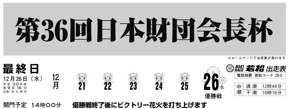 【若松競艇予想(12/26)】第36回日本財団会長杯(2018)最終日の買い目はコレ!