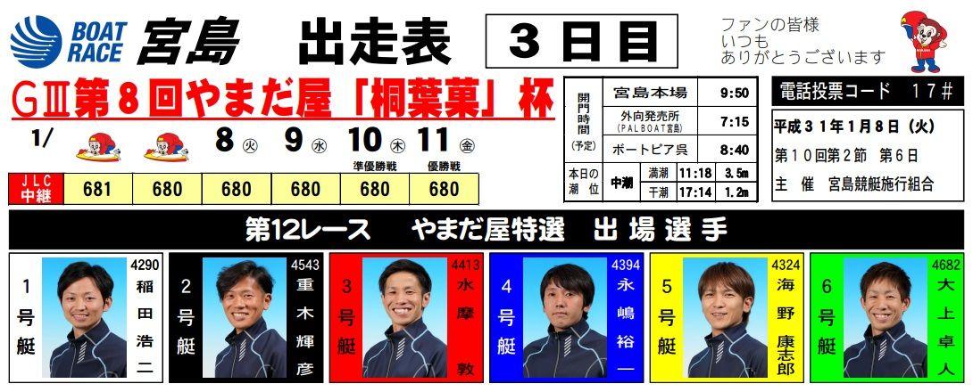 【宮島競艇予想(1/8)】G3第8回やまだ屋「桐葉菓」杯(2019)3日目の買い目はコレ!