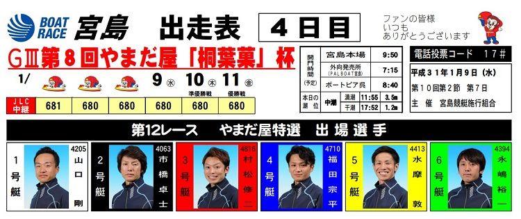 【宮島競艇予想(1/9)】G3第8回やまだ屋「桐葉菓」杯(2019)4日目の買い目はコレ!