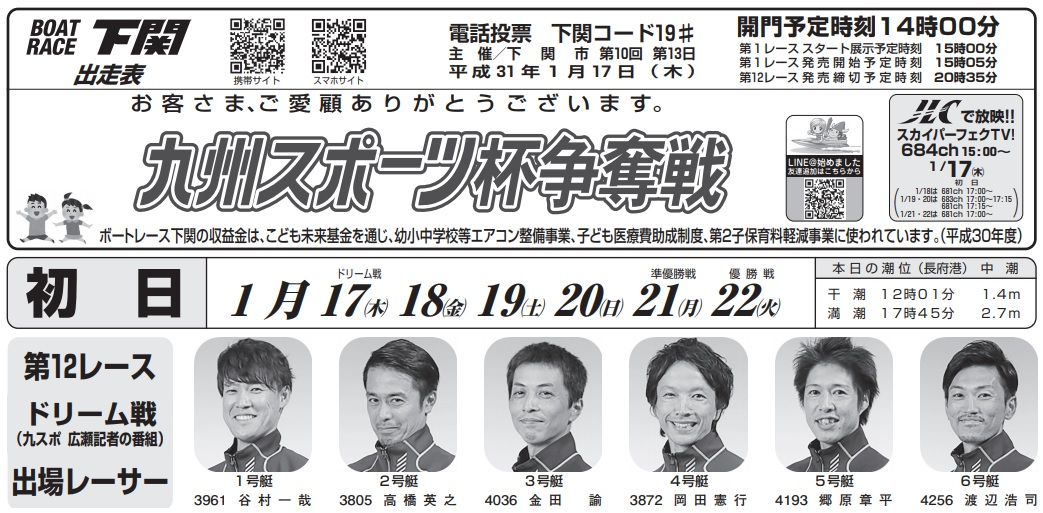 【下関競艇予想(1/17)】九州スポーツ杯争奪戦(2019)初日の買い目はコレ!