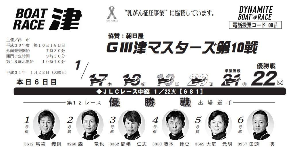 【津競艇予想(1/22)】G3津マスターズ第10戦(2019)最終日の買い目はコレ!