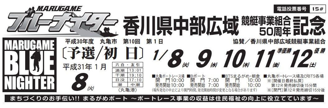 【丸亀競艇予想(1/8)】香川県中部広域競艇事業組合50周年記念(2019)初日の買い目はコレ!