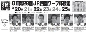 【丸亀競艇予想(3/22)】G3第28・JR四国ワープ杯競走(2019)3日目の買い目はコレ!