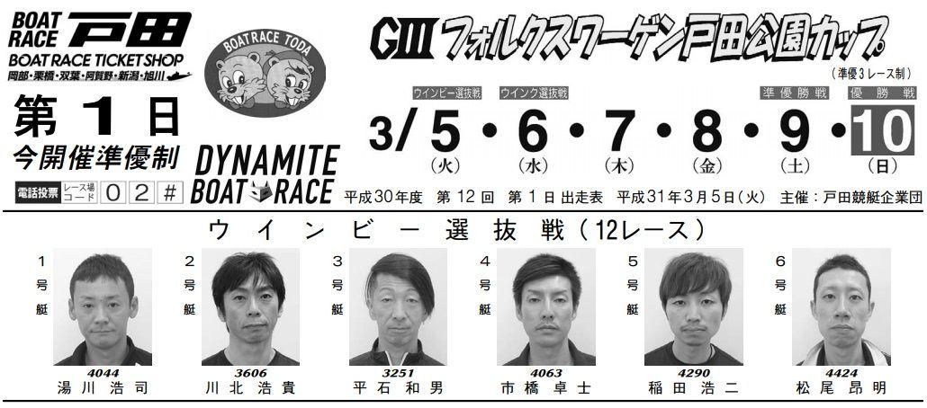 【戸田競艇予想(3/5)】G3フォルクスワーゲン戸田公園カップ(2019)初日の買い目はコレ!
