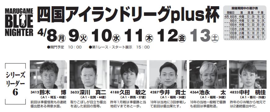 【丸亀競艇予想(4/11)】四国アイランドリーグplus杯(2019)4日目の買い目はコレ!