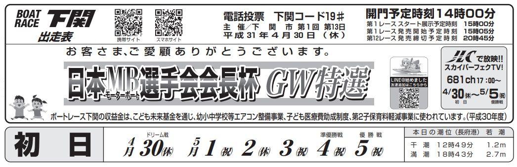 【下関競艇予想(4/30)】日本モーターボート選手会会長杯GW特選(2019)初日の買い目はコレ!