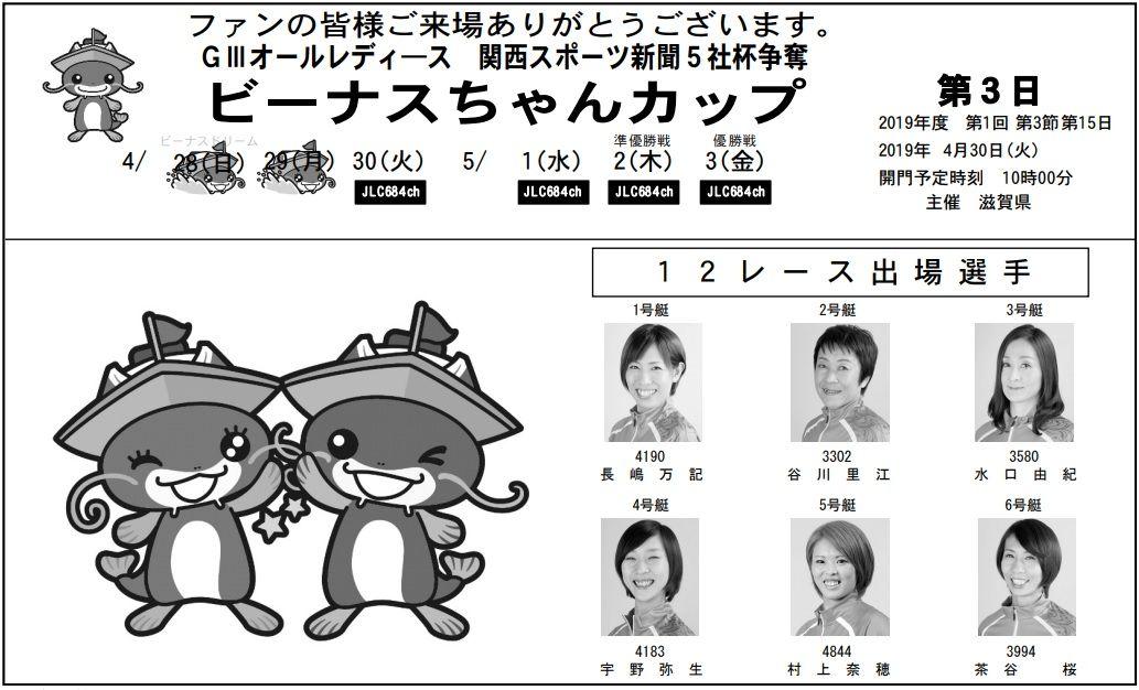 【びわこ競艇予想(5/1)】G3オールレディース-ビーナスちゃんカップ(2019)4日目の買い目はコレ!