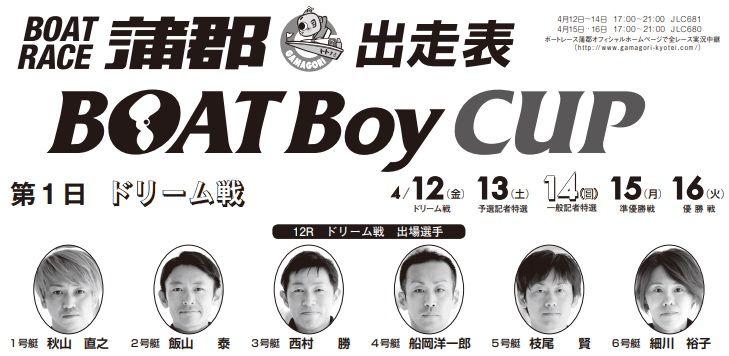 【蒲郡競艇予想(4/12)】BOAT Boy CUP(2019)初日の買い目はコレ!