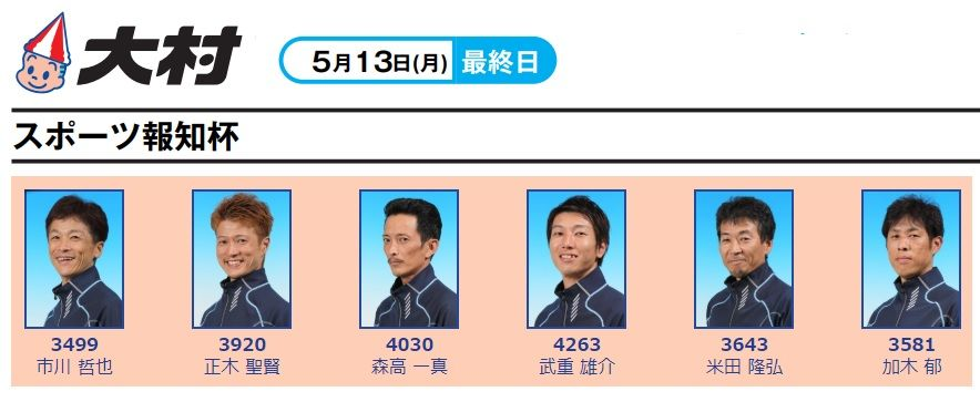 【大村競艇予想(5/13)】スポーツ報知杯(2019)最終日の買い目はコレ!