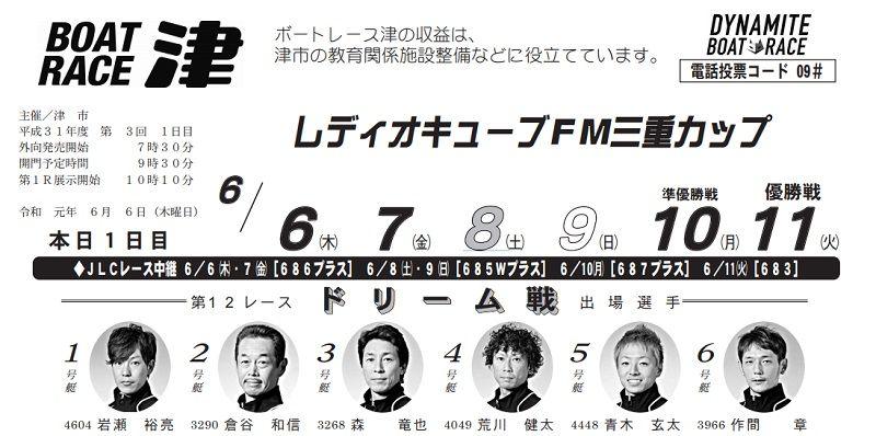 【津競艇予想(6/6)】レディオキューブFM三重カップ(2019)初日の買い目はコレ!