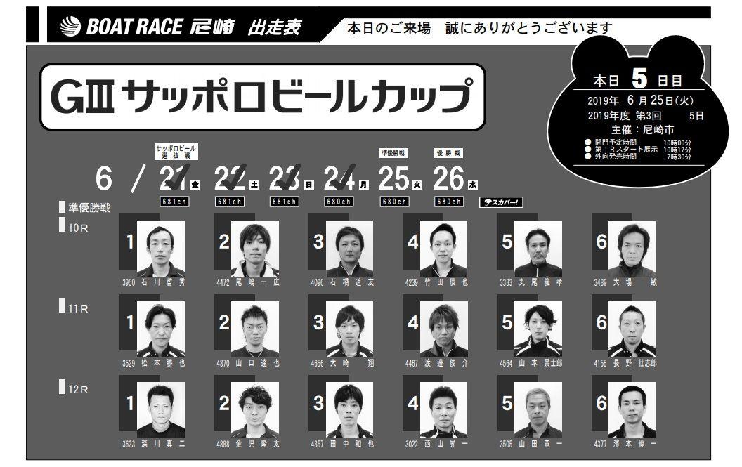 【尼崎競艇予想(6/25)】G3サッポロビールカップ(2019)5日目の買い目はコレ!