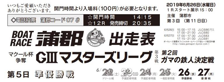 【蒲郡競艇予想(6/26)】G3ガマの鉄人決定戦(2019)5日目の買い目はコレ!