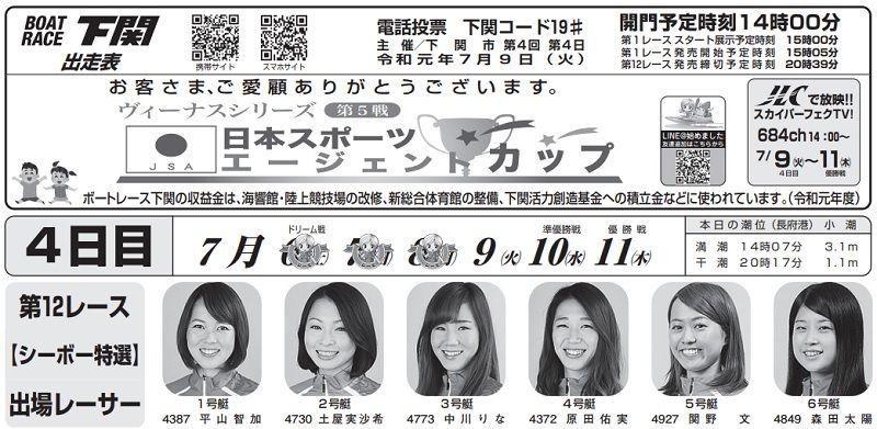 【下関競艇予想(7/9)】日本スポーツエージェントカップ(2019)4日目の買い目はコレ!