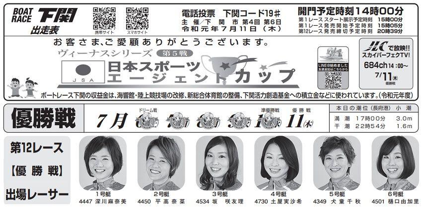 【下関競艇予想(7/11)】日本スポーツエージェントカップ(2019)最終日の買い目はコレ!