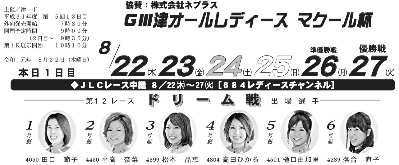 【津競艇予想(8/22)】G3津オールレディース-マクール杯(2019)2日目の買い目はコレ!