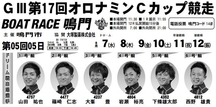 【鳴門競艇予想(8/7)】G3オロナミンCカップ競争(2019)初日の買い目はコレ!