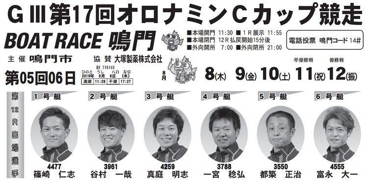 【鳴門競艇予想(8/8)】G3オロナミンCカップ競争(2019)2日目の買い目はコレ!