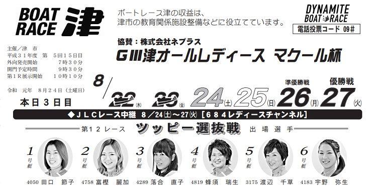 【津競艇予想(8/24)】G3津オールレディース-マクール杯(2019)3日目の買い目はコレ!