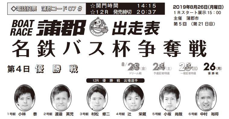 【蒲郡競艇予想(8/26)】名鉄バス杯争奪戦(2019)最終日の買い目はコレ!