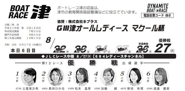 【津競艇予想(8/27)】G3津オールレディース-マクール杯(2019)最終日の買い目はコレ!