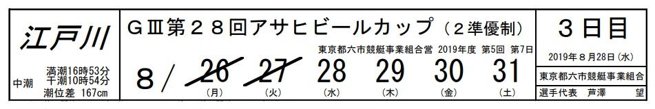 【江戸川競艇予想(8/28)】G3第28回アサヒビールカップ(2019)3日目の買い目はコレ!