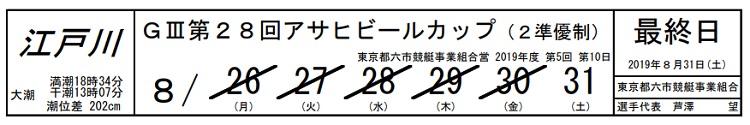 【江戸川競艇予想(8/31)】G3第28回アサヒビールカップ(2019)最終日の買い目はコレ!