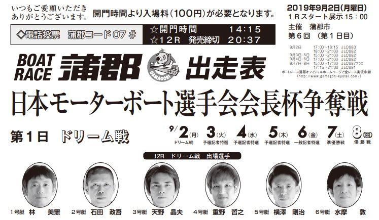 【蒲郡競艇予想(9/2)】日本モーターボート選手会会長杯争奪戦(2019)2日目の買い目はコレ!