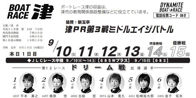 【津競艇予想(9/10)】津PR第3戦-ミドルエイジバトル(2019)初日の買い目はコレ!