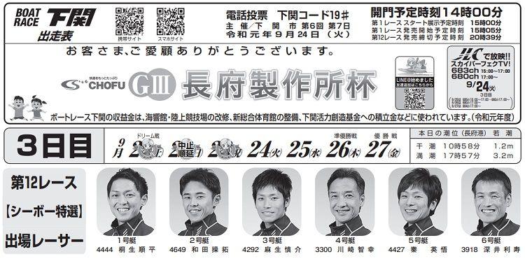 【下関競艇予想(9/24)】G3長府製作所杯(2019)3日目の買い目はコレ!